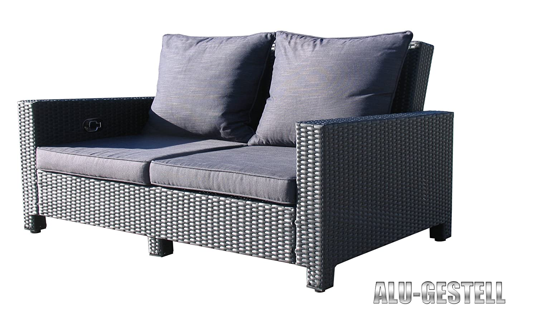 Rattan Lounge Sofa 200cm Couch Futon Couchgarnitur Schwarz