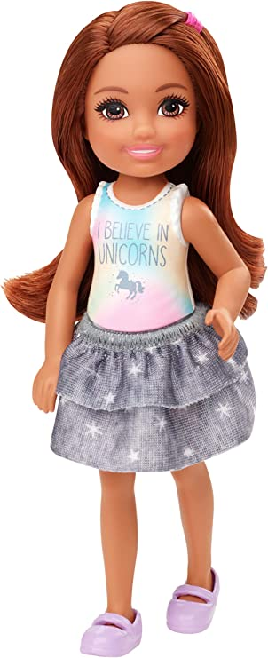 Barbie Club Chelsea Doll (6-inch Brunette) Wearing Unicorn-Themed Graphic and Star Skirt, for 3 to 7 Year Olds