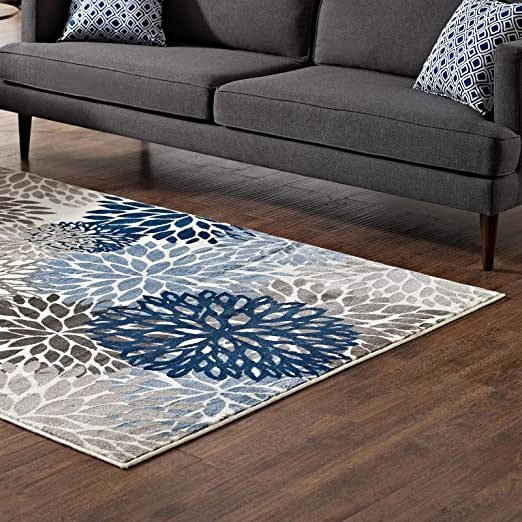 Amazon Com Modway Calithea Vintage Classic Abstract Floral 8x10 Area Rug In Blue Brown And Beige Furniture Decor