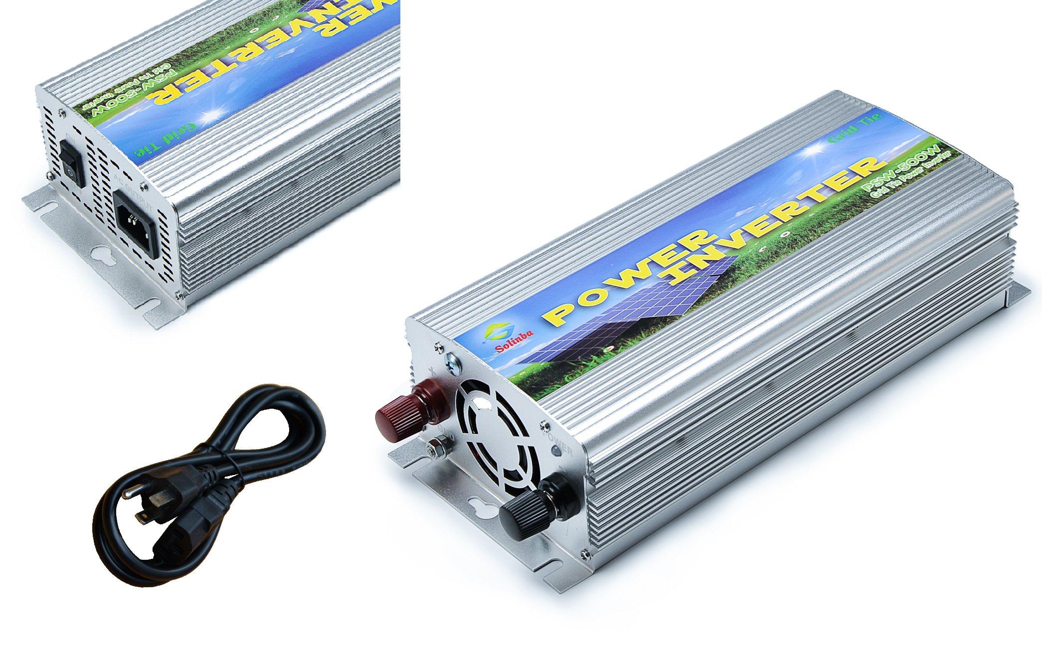 Solinba 500w Grid Tie Inverter for Solar Inverter, Solar Generator, Mppt, Silver, USA, DC11-28v to AC 220v