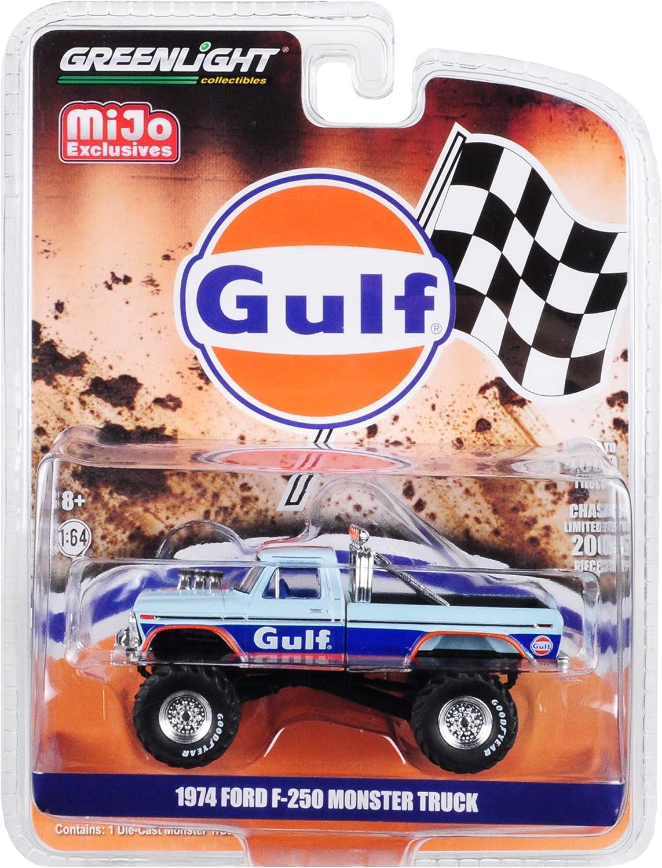 1974 Ford F-250 Monster Truck Gulf Blue mit Orange Stripes Limited Edition zu 4,600 Pieces Worldwide 1/64 Diecast Model Auto durch Greenlight 51288