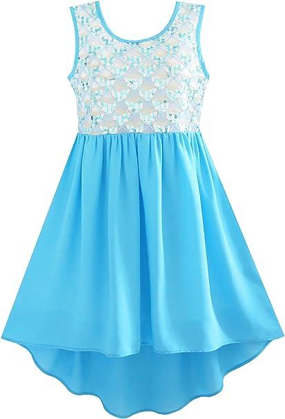 JQ54 Sunny Fashion Vestido para niña Resplandecer Hi-Lo Gasa Fiesta Cumpleaños Princesa 10 años