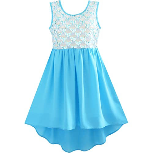 Sunny Fashion Girls Dress Hi-Lo Maxi Cotton and Chiffon Pink