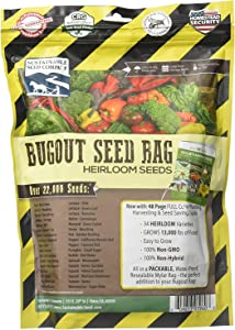 22,000 Non GMO Heirloom Vegetable Seeds, Survival Garden, Emergency Seed Vault, 34 VAR, Bug Out Bag - Beet, Broccoli, Carrot, Corn, Basil, Pumpkin, Radish, Tomato, More