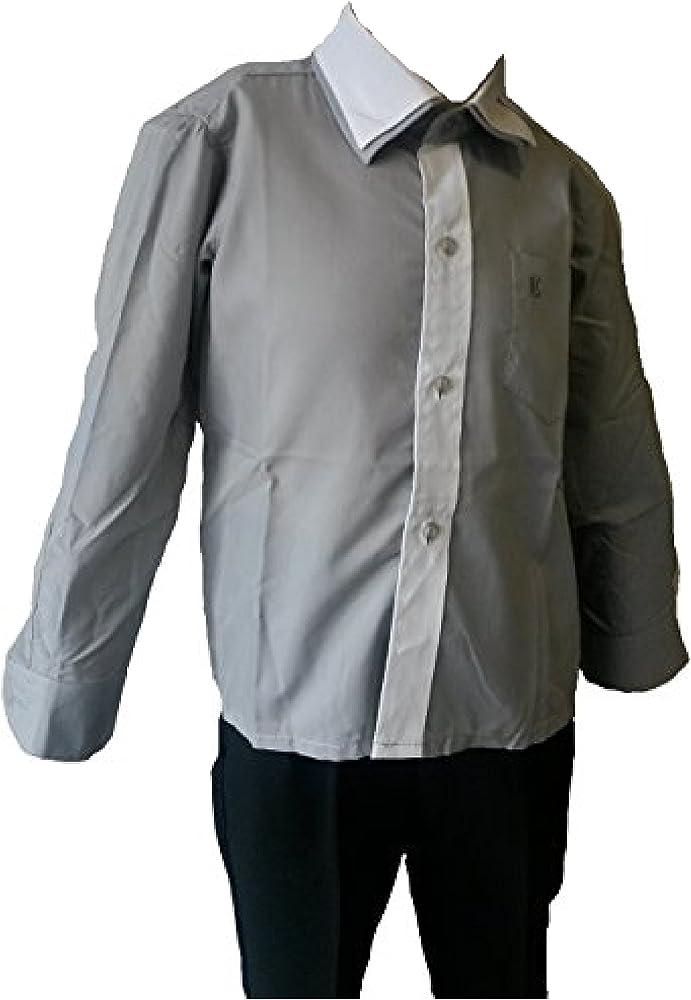 Unbekannt - Camisa - Básico - para niño gris grau-weiss 32: Amazon.es: Ropa y accesorios