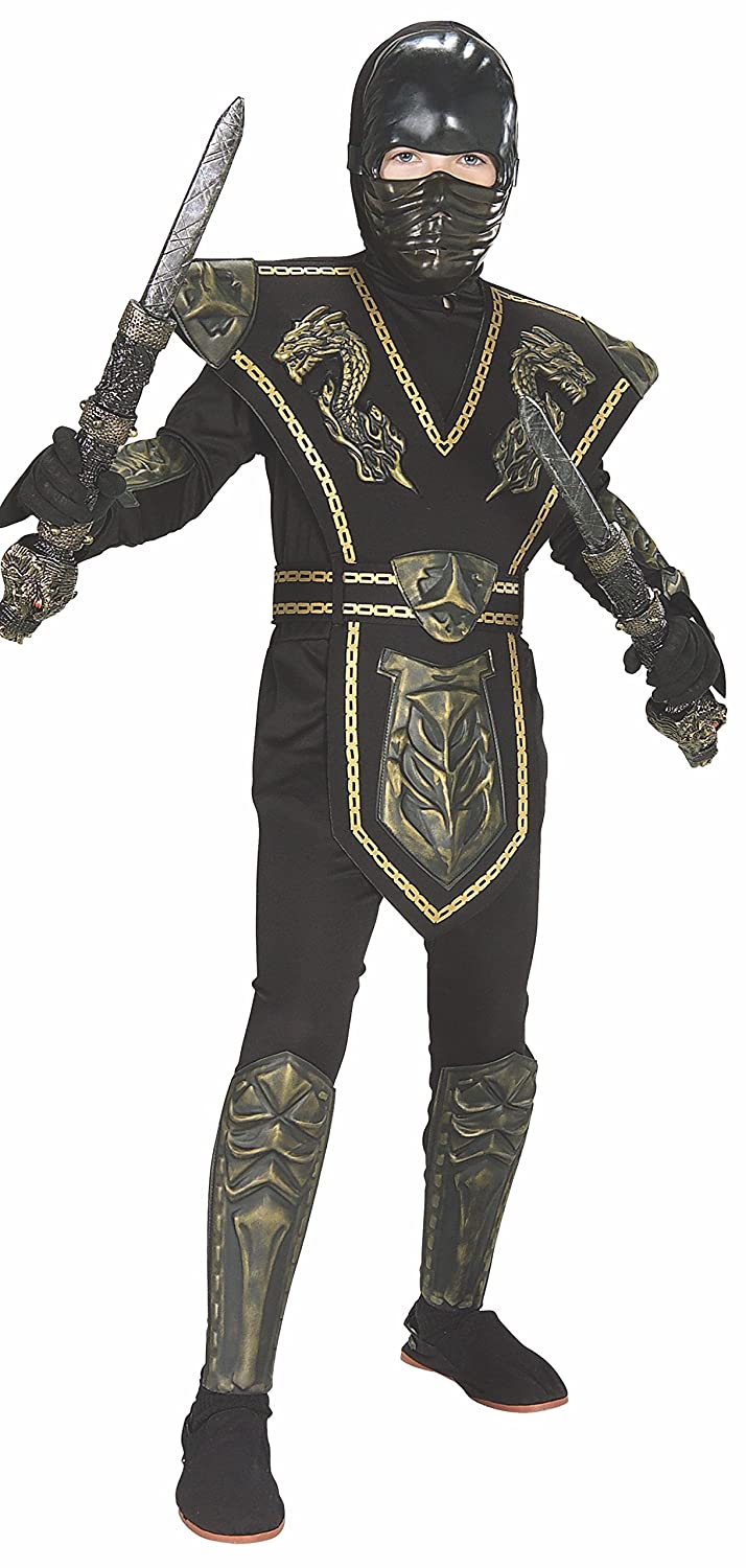 Childs Gold Dragon Warrior Ninja Costume, Large