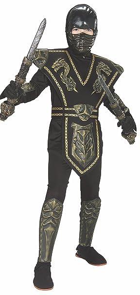 Disfraz de Ninja Dorado enmascarado para niño, infantil 5-7 años ...