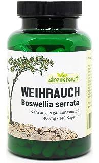 Extracto de Boswellia Serrata puro, Incienso, 140 cápsulas vegetarianas, 400mg, Alta potencia