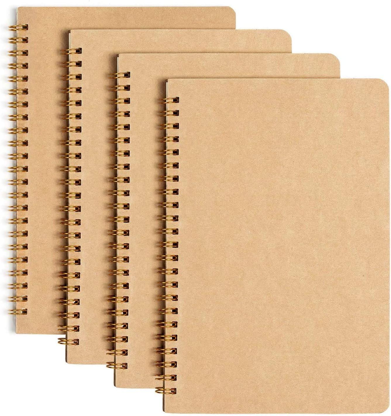 Bloc de Notas Espiral A5, GuKKK Pack de 4 Cuaderno Libretas Tapa Blanda Cubierta de Kraft 100 Páginas/50 Hojas, Cuaderno de Estudiante, Bloc de Notas de Cartón, Diarios para Escolar, Diario de Viaje