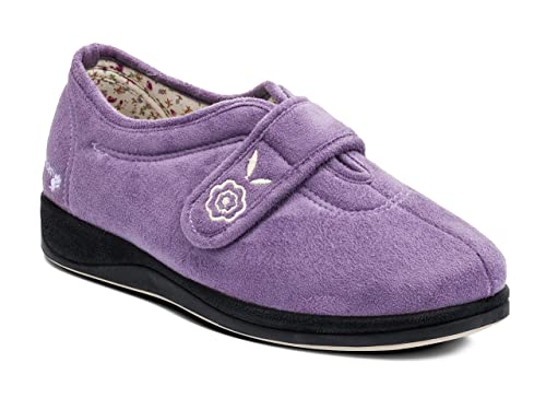 Padders CAMILLA Ladies Extra Wide (EE) Fitting Touch Fasten Slippers Lavender
