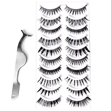 7b1132ec4a4 Goldrose 10 Different Styles 10 Pairs Black Long Thick& Most Natural  Looking Reusable Charming Cross Makeup