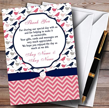 Amazon Com Coral Pink Navy Blue Shabby Chic Birds Personalized