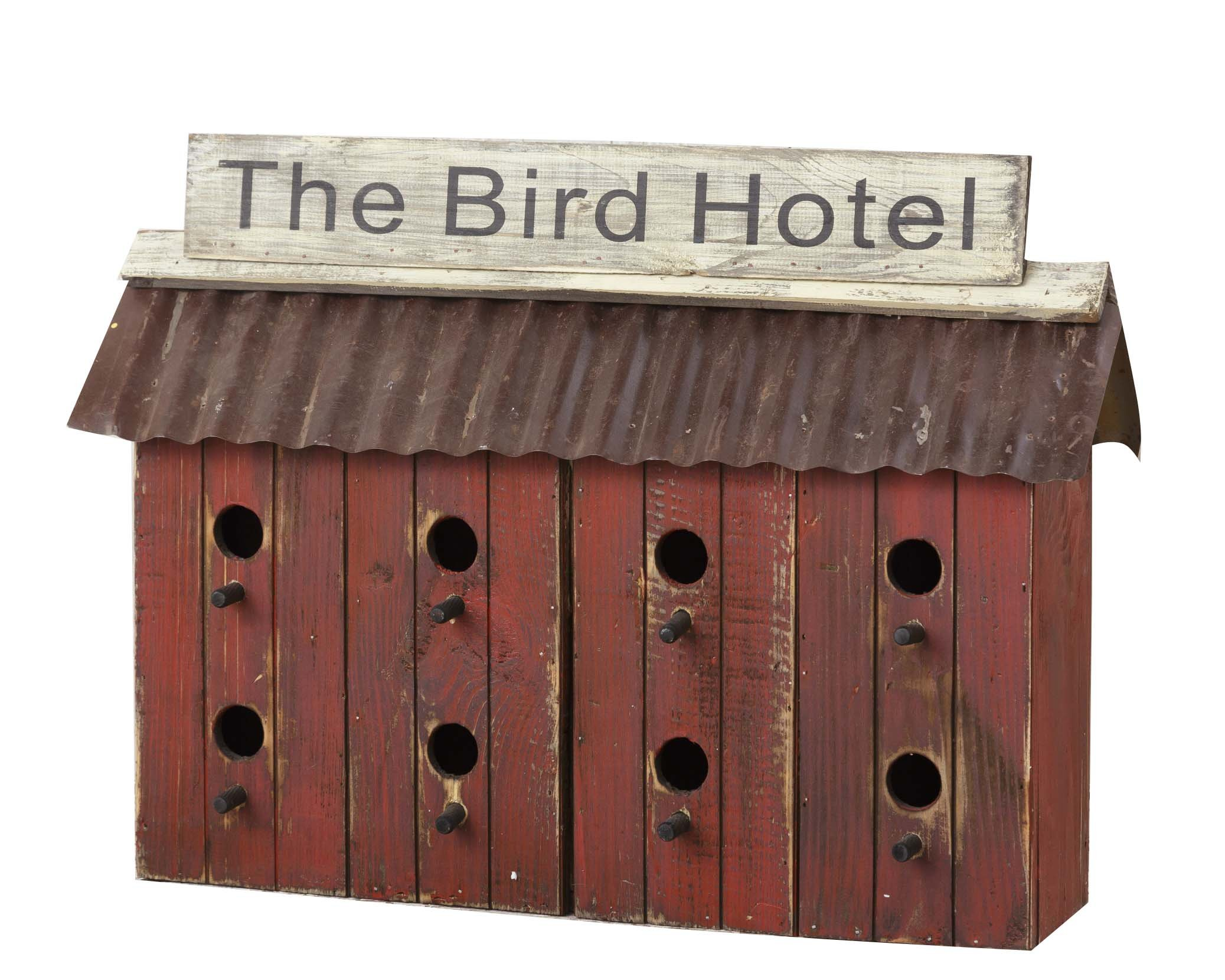 Your Heart's Delight 21'' x 6.5'' x 15'' the Bird Hotel with Eight Cleanout Holes Tabletop Decoration