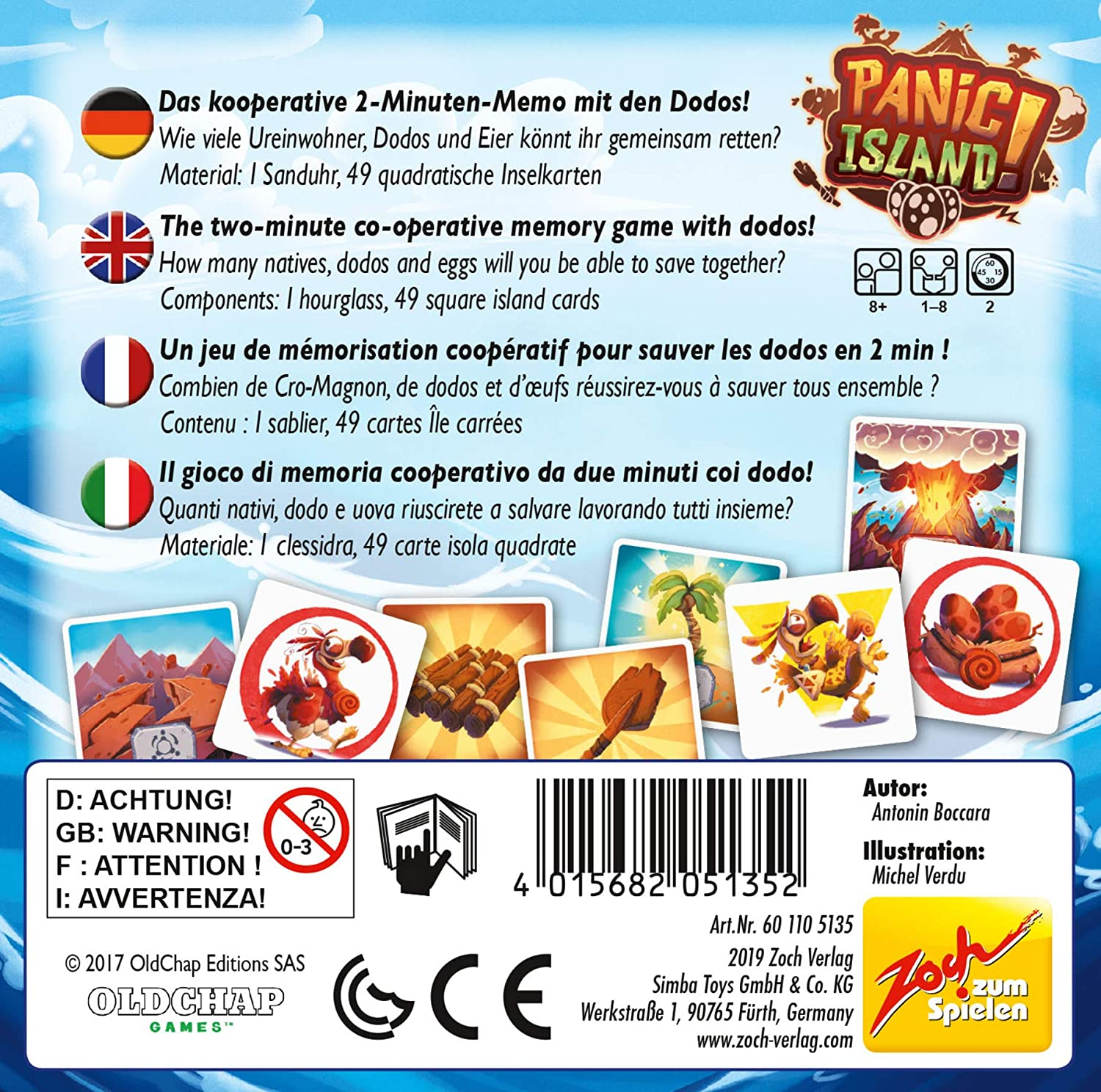Multi-Colour Zoch 601105135 Panic Island Card and Dice Game