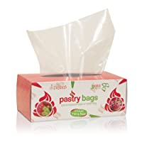Disposable Pastry Bags, Extra Large - 21 Inch. 80 count Heavy Duty in dispenser box. Microwave safe by CiE. 3 Free Piping Bag Ties included!