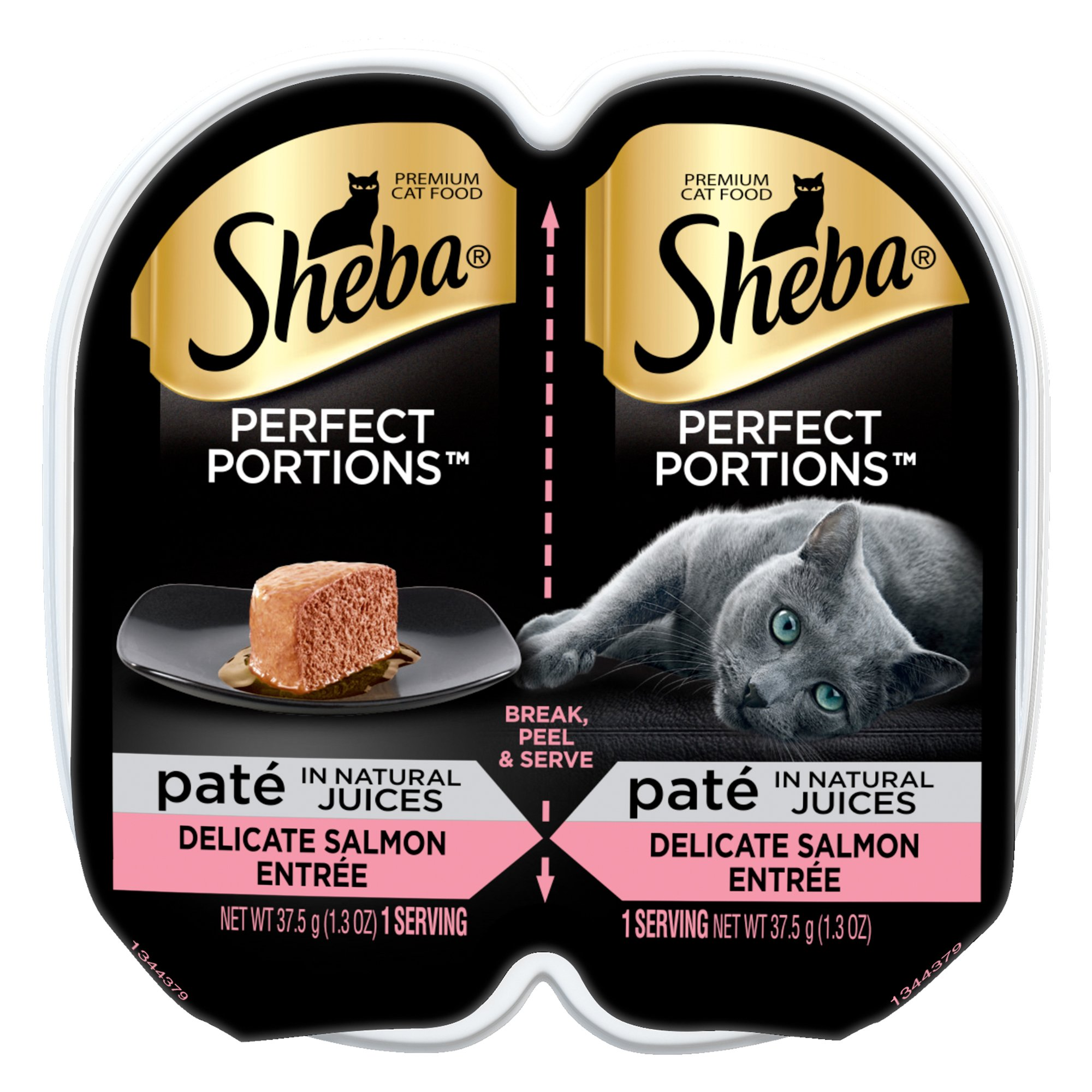Mars Petcare Us Sheba Perfect Portions, 2.6 Oz, Premium Pate Salmon Entree Wet Cat Food (2 Pack)