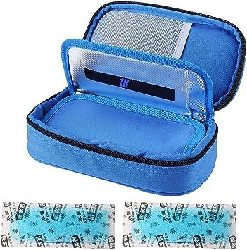 Bolsa isotérmica para insulina para diabéticos, bolsa de medicamentos, bolsa isotérmica para accesorios de diabético con acumuladores de frío, color azul: Amazon.es: Salud y cuidado personal