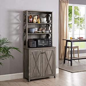 Elegant Bar Cabinet | Kitchen Cabinet with Microwave Stand (Stone Grey)