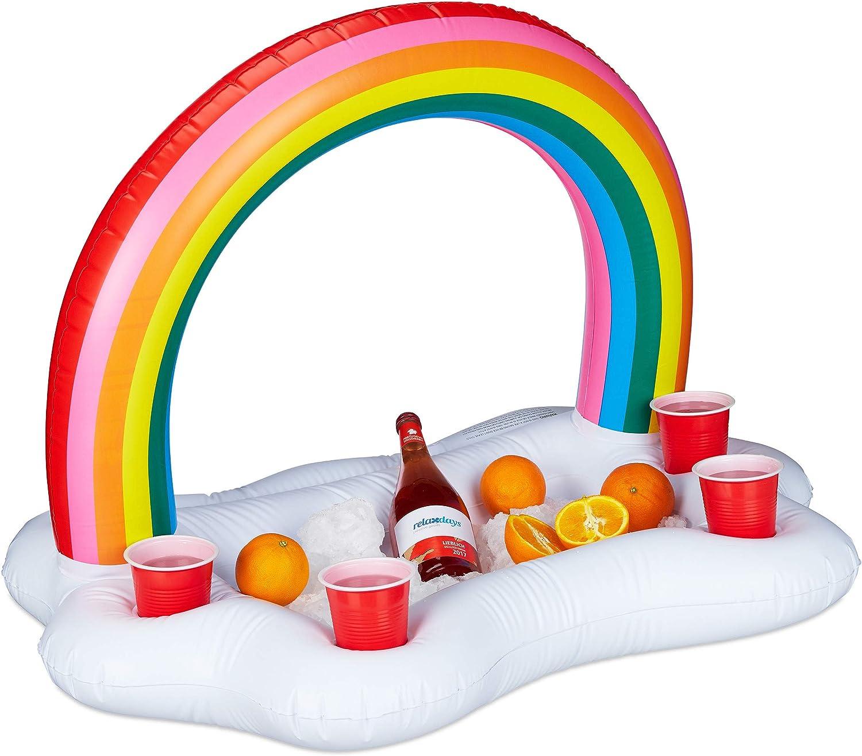 Relaxdays- Bar Hinchable 4 Posavasos Nube con Arcoíris para Piscina, PVC, Blanco, 66 x 88 x 62 cm, Color (10025414)