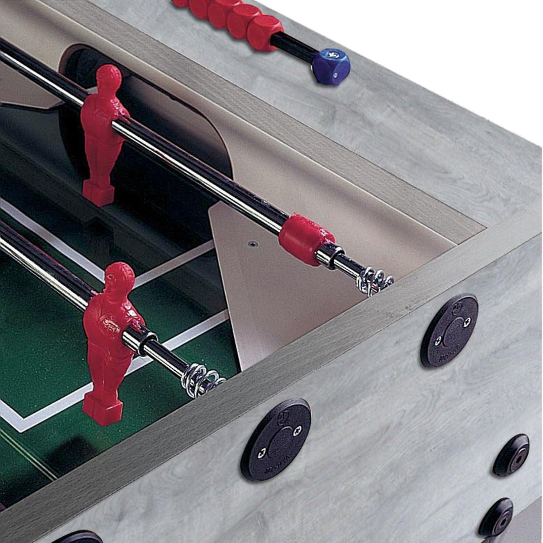 Garlando G-500 interior futbolín mesa con telescópico varillas de acero y rodamientos de bola de acero. Incluye 10 estándar pelotas., Roble gris: Amazon.es: Deportes y aire libre