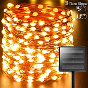 (Ultra-Bright) Solar String Lights Outdoor,Kolpop 73ft 220 LED (Upgraded Oversize Lamp Bead) Solar Fairy Lights Outdoor Waterproof 8 Modes for Christmas Tree Lights Home Garden Party Patio(Warm White)