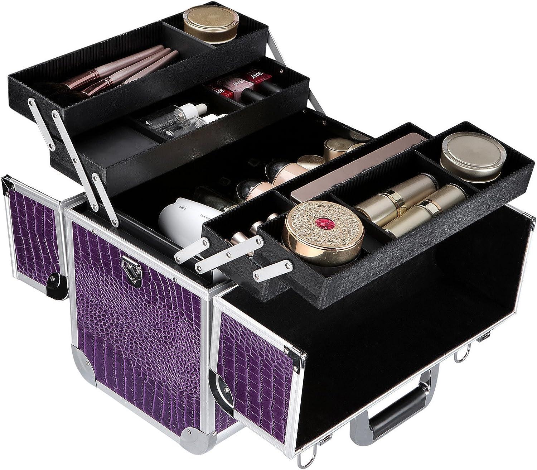 SONGMICS Malet/ín para Maquillaje Aluminio Estuche de Maquillaje JBC229
