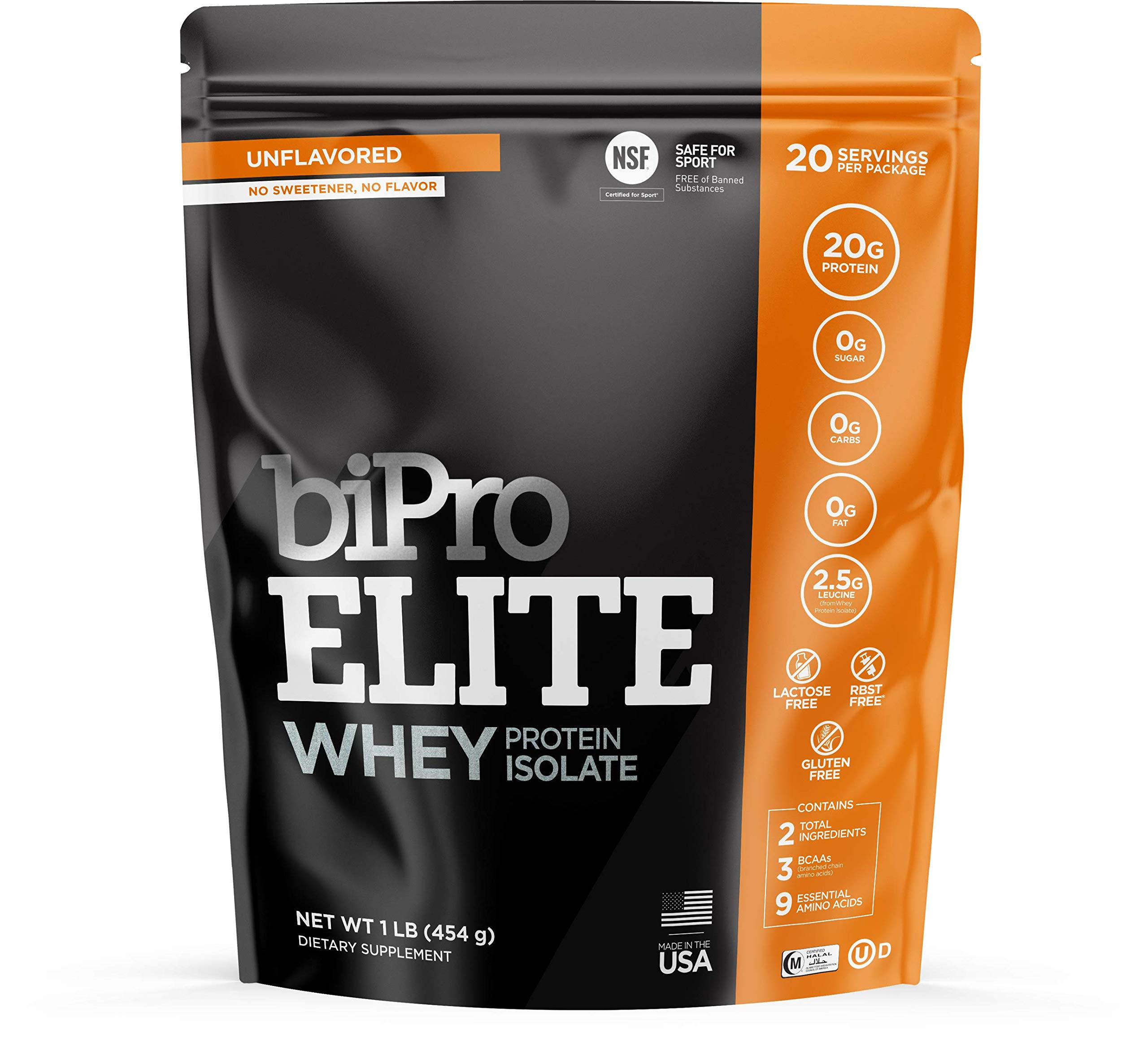 BiPro Elite 100% Whey Isolate Protein Powder, Unflavored, 1 Pound by BiPro