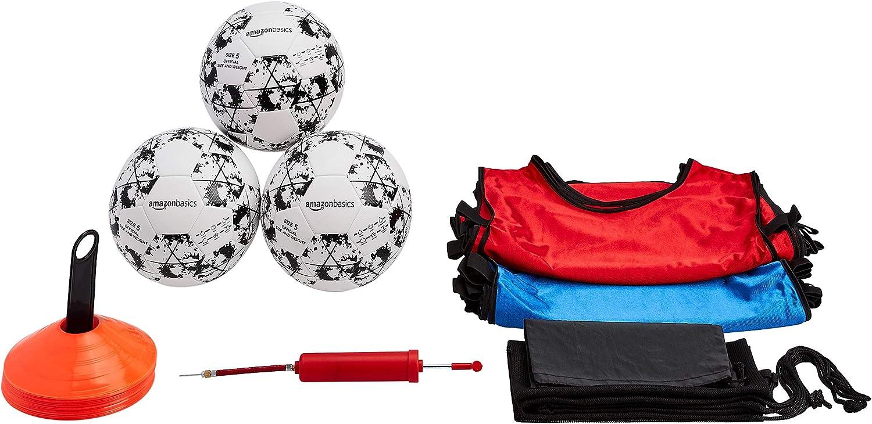 Basics Soccer Starter Set - 3 Balls, Air Pump, 12 Kids Practice Jerseys, 20 Cones, and Carry Bag : Sports & Outdoors