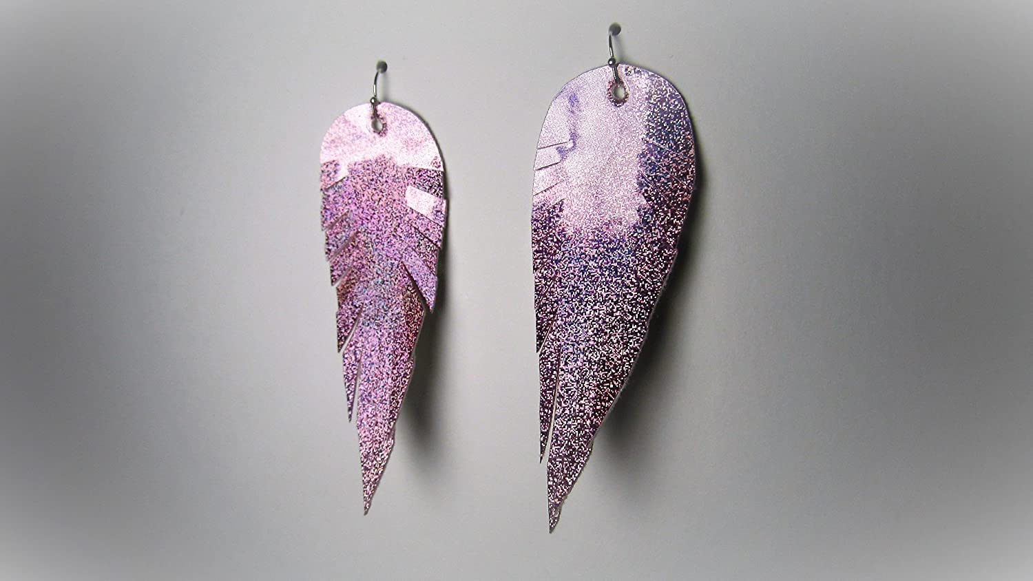 Accessories by Amalia Faux Leather Feather Handmade Earrings Pink Rainbow Chrome
