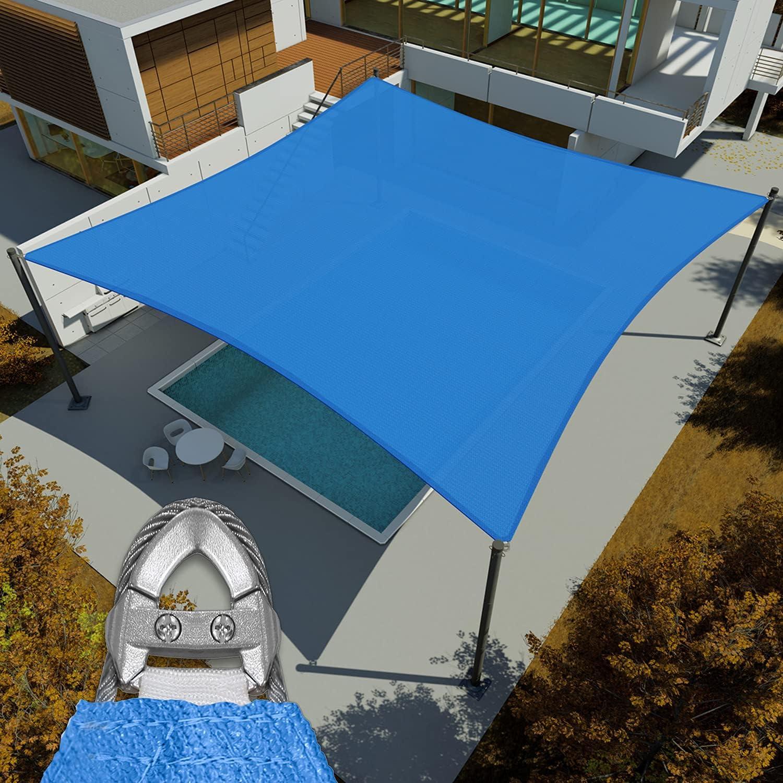 E&K Sunrise Reinforcement Large Sun Shade Sail 20' x 24' Rectangle Heavy Duty Strengthen Durable Outdoor Garden Canopy UV Block Fabric (260GSM)- 7 Year Warranty - Blue