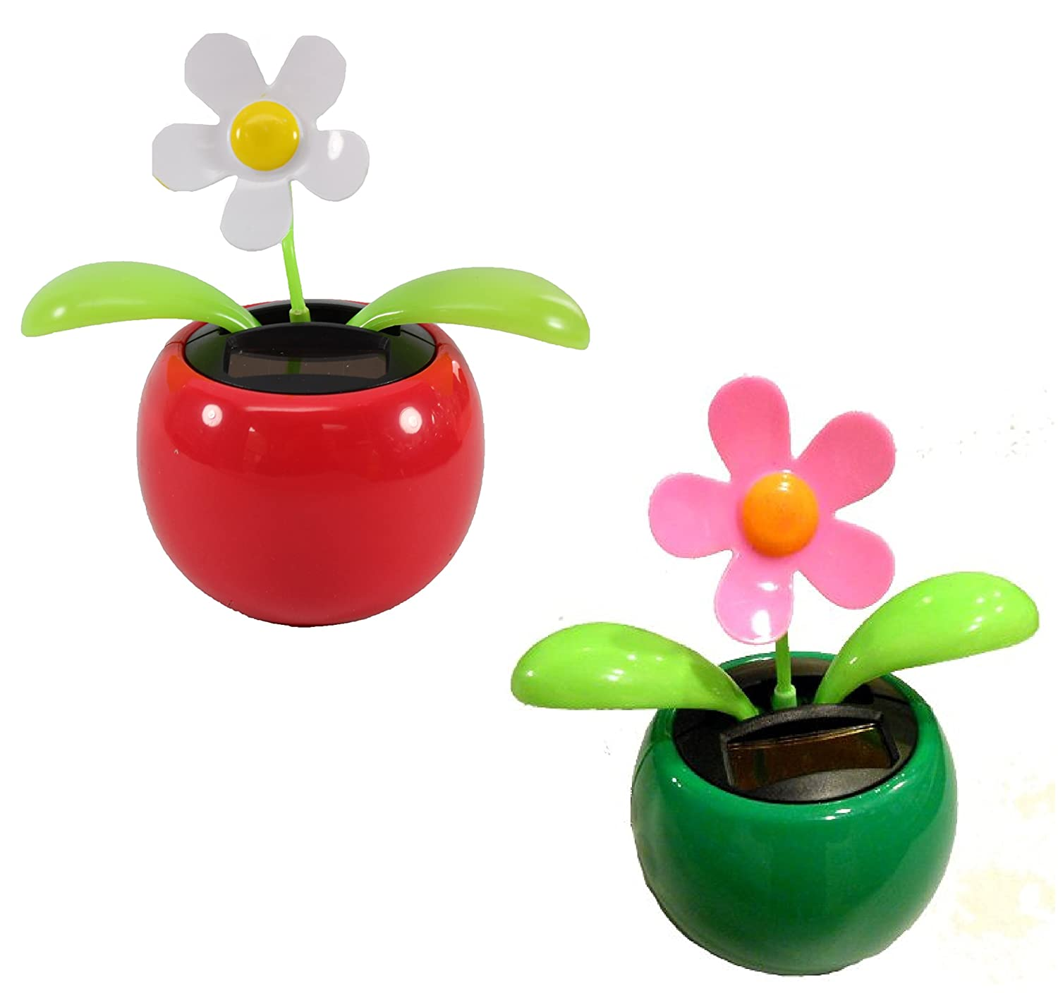 217 & Set of 2 Dancing Flowers ~ 1 White 1 Pink Daisy in Assorted Colors Pots Solar Toy Car Dashboard Home Decor Birthday Congratulatory Easter Gift