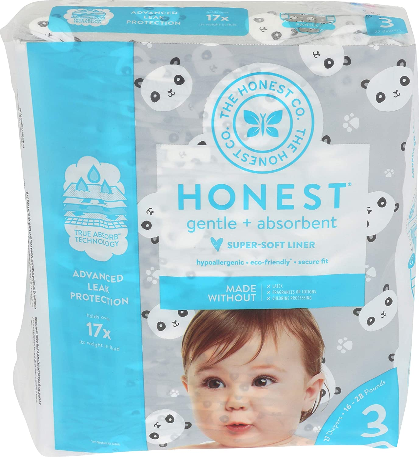 The Honest Company - Eco-Friendly and Premium Disposable Diapers - Pandas, Size 3 (16-28 lbs), 27 Count
