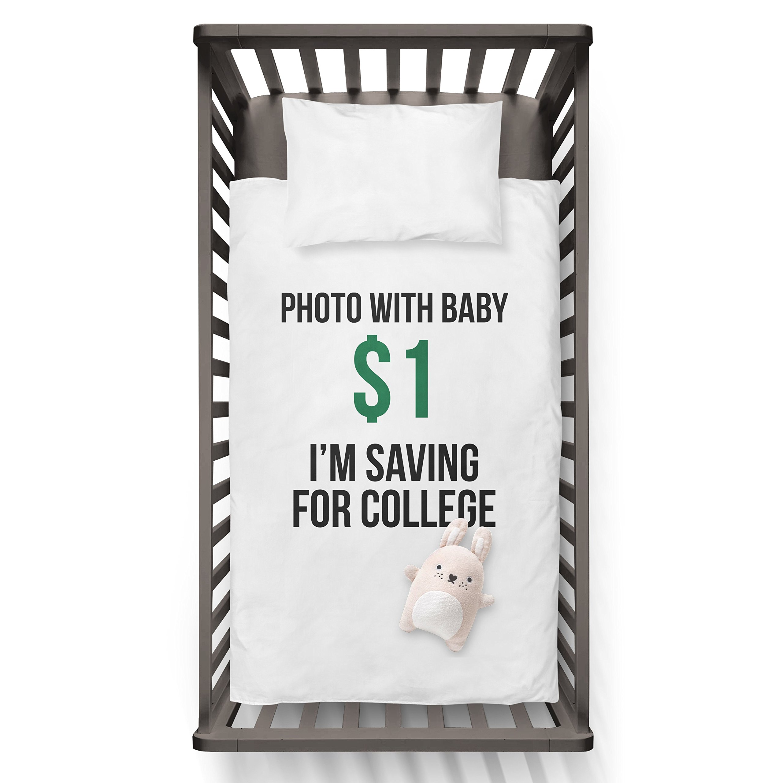 Photo with baby 1$ I'm saving for collage! Funny Humor Hip Baby Duvet /Pillow set,Toddler Duvet,Oeko-Tex,Personalized duvet and pillow,Oraganic,gift