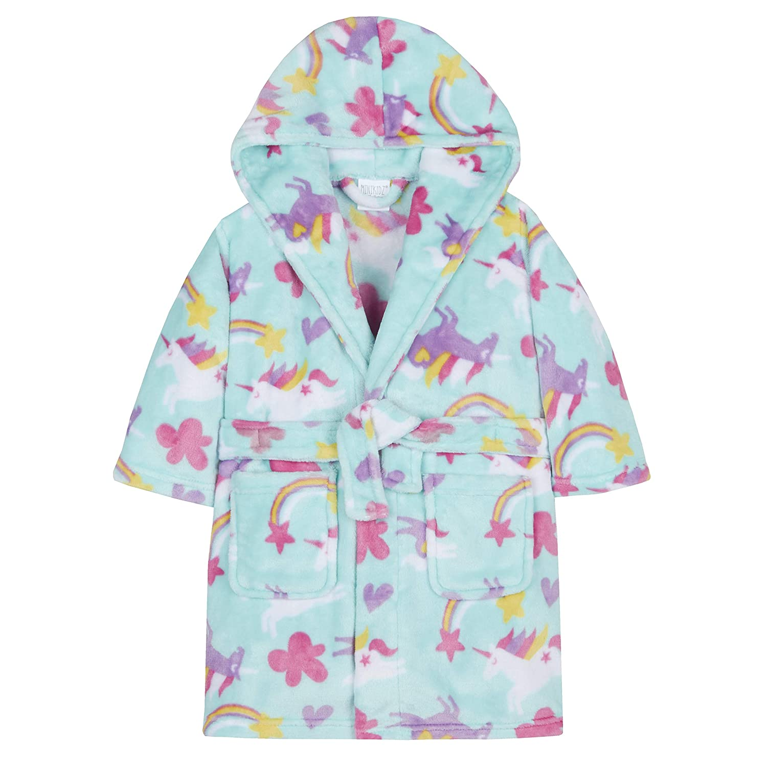 MiniKidz Girls Unicorn & Rainbow Print Dressing Gown Aqua)