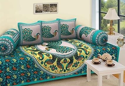 Stop N Shopp Cotton Jaipuri Diwan Set (Green, Standard)