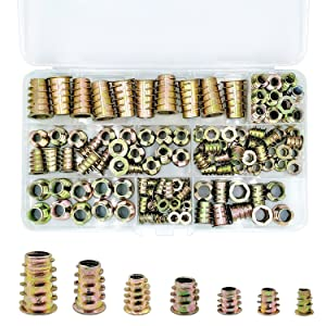 PGMJ 130 Pieces 7 Size M4/M5/M6/M8/M10 Metric Threaded Inserts Nuts Assortment Tool Kit for Wood Furniture Zinc Alloy Furniture Bolt Fastener Connector Hex Socket Screw Inserts