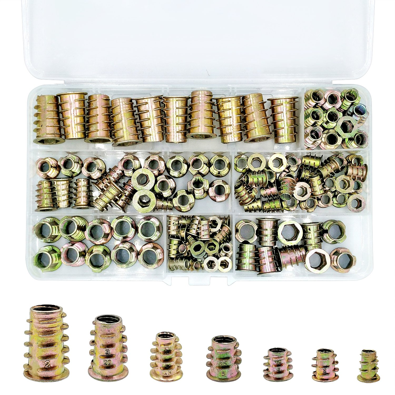 PGMJ 130 Pieces Metric Threaded Insert Nuts Assortment Tool Kit for Wood Furniture Zinc Alloy Furniture Bolt Fastener Connector Hex Socket Screw Inserts (M4/ M5/ M6/ M8/ M10)