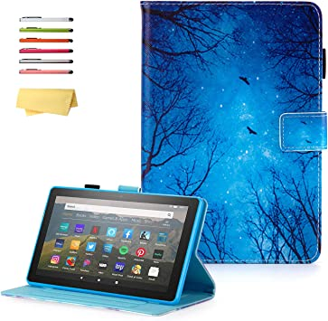 Amazon Com Uucovers Case For All New Amazon Kindle Fire Hd 8 2020 10th Generation Fire Hd 8 Plus 2020 10th Gen Tablet 8 Stand Smart Pu Leather Cover With Pencil Holder Auto