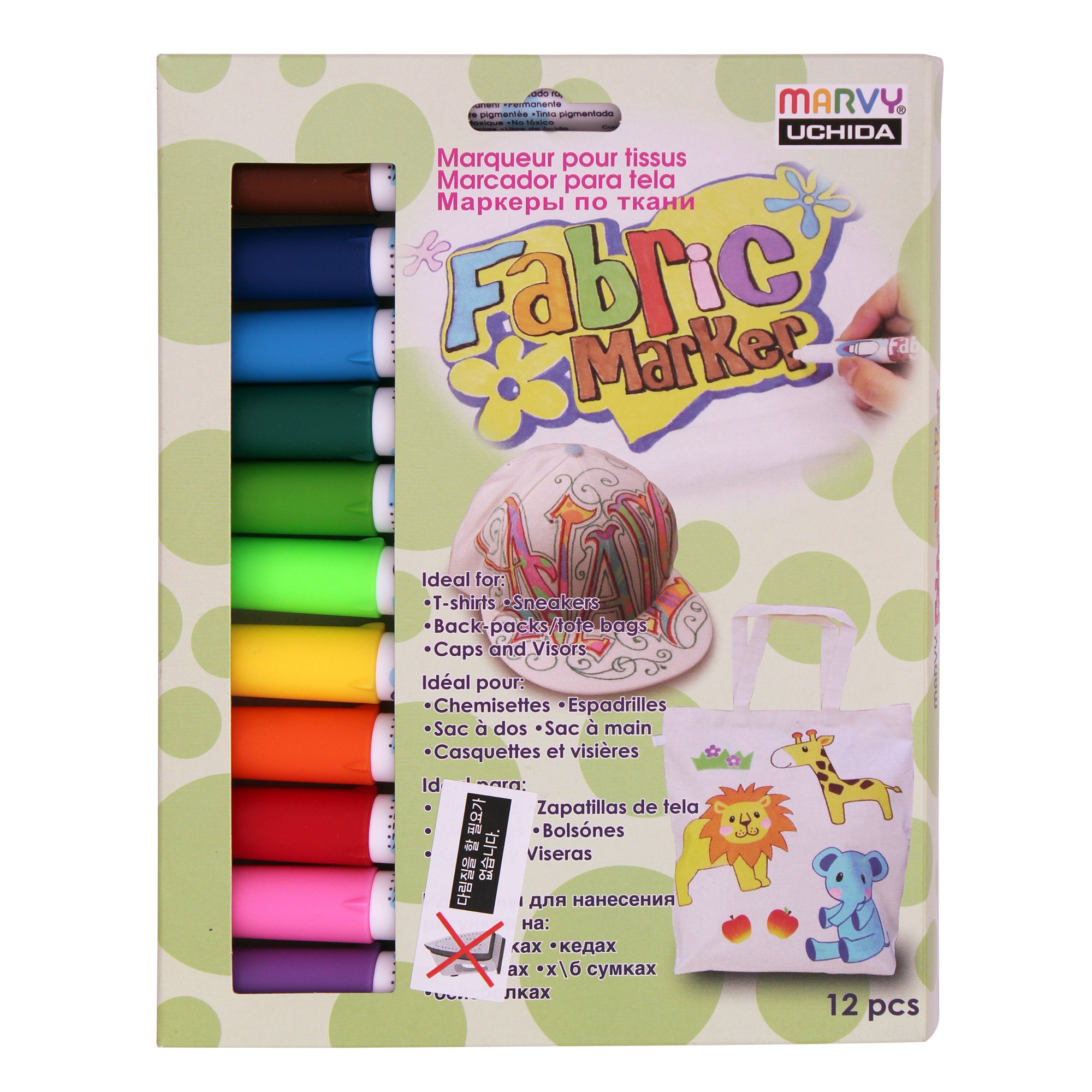 Uchida Marvy Permanent Fabric Marker Clothing, Decor 6/10/12 Colors (Primary - 12 Colors) by Uchida Marvy