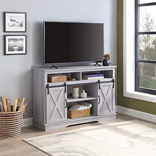 BELLEZE Parker 52 TV Stand Sliding Console for TV s Up to 60 Entertainment Center, Stone Grey