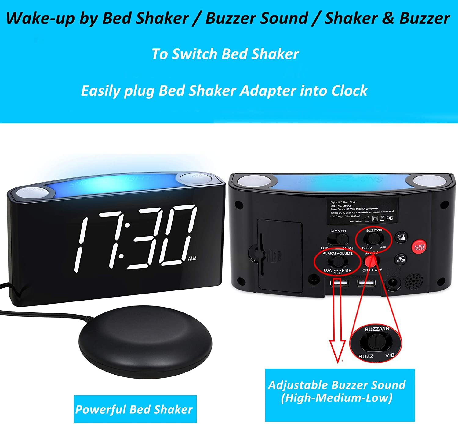 BUFFBEE Super Loud Alarm Clock for Heavy Sleepers with Bed Shaker USB Charger White Flashing Alert Light Full Range Dimmer Battery Backup Vibrating Alarm Clock for Bedrooms