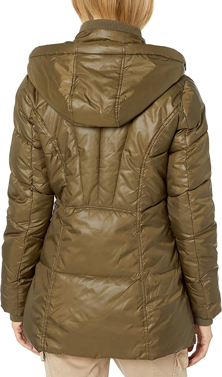 Celsius Womens Heavyweight Wellon Coat with Oversized Hood and Inner Vest