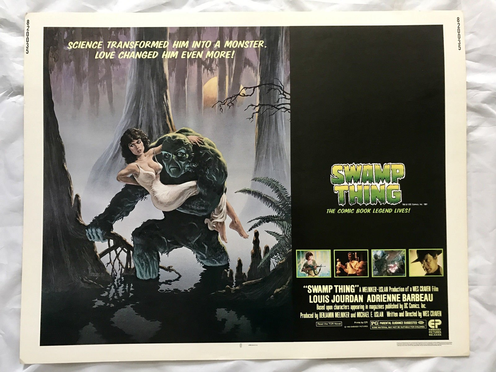 ''SWAMP THING'' 1982 ORIGINAL MOVIE POSTER FIRST ISSUE 22X28 WES CRAVEN DC COMICS