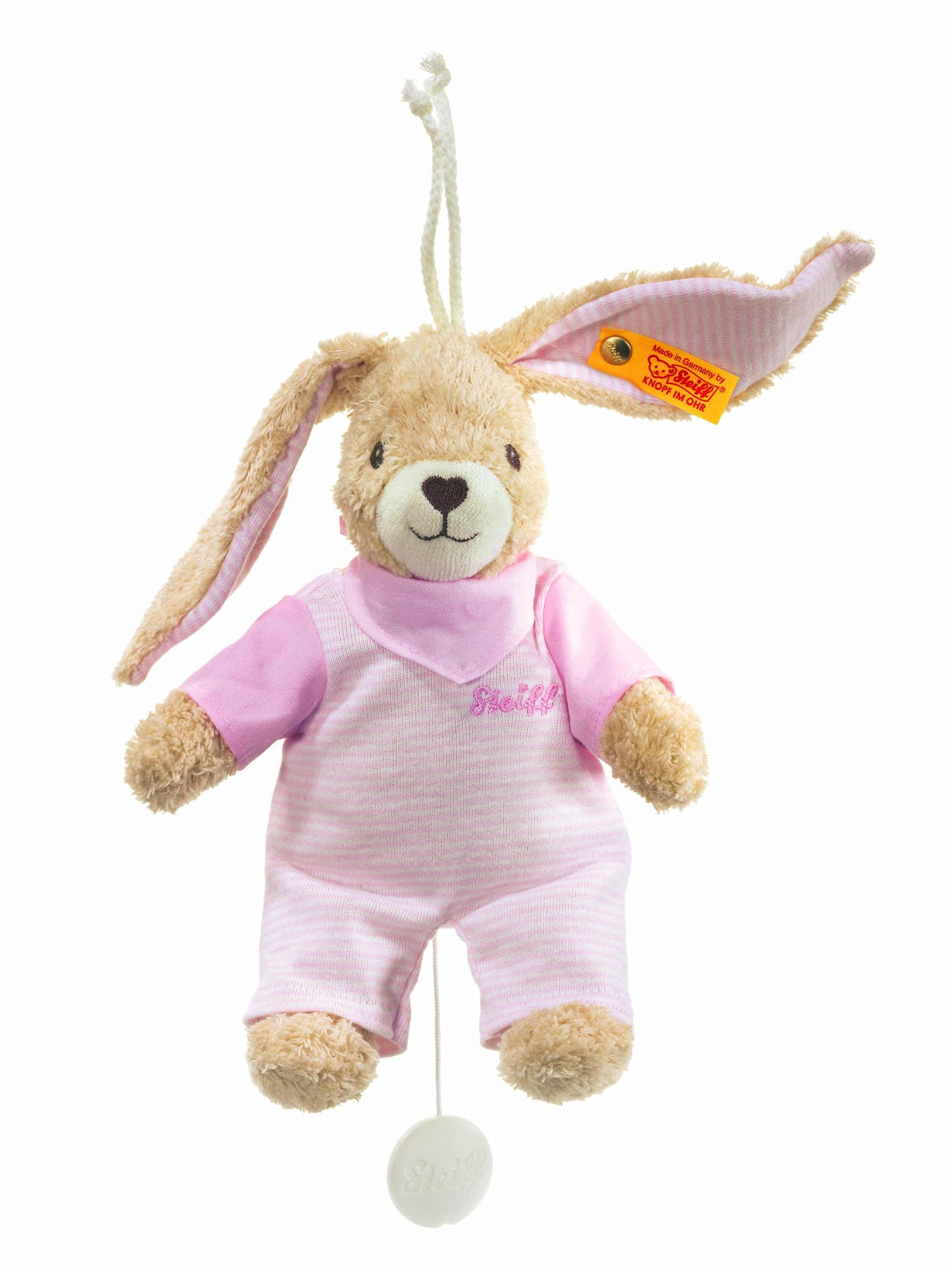 Steiff Hoppel Rabbit with Removable Music Box Plays a Folk Song (Pale Pink,20cm)