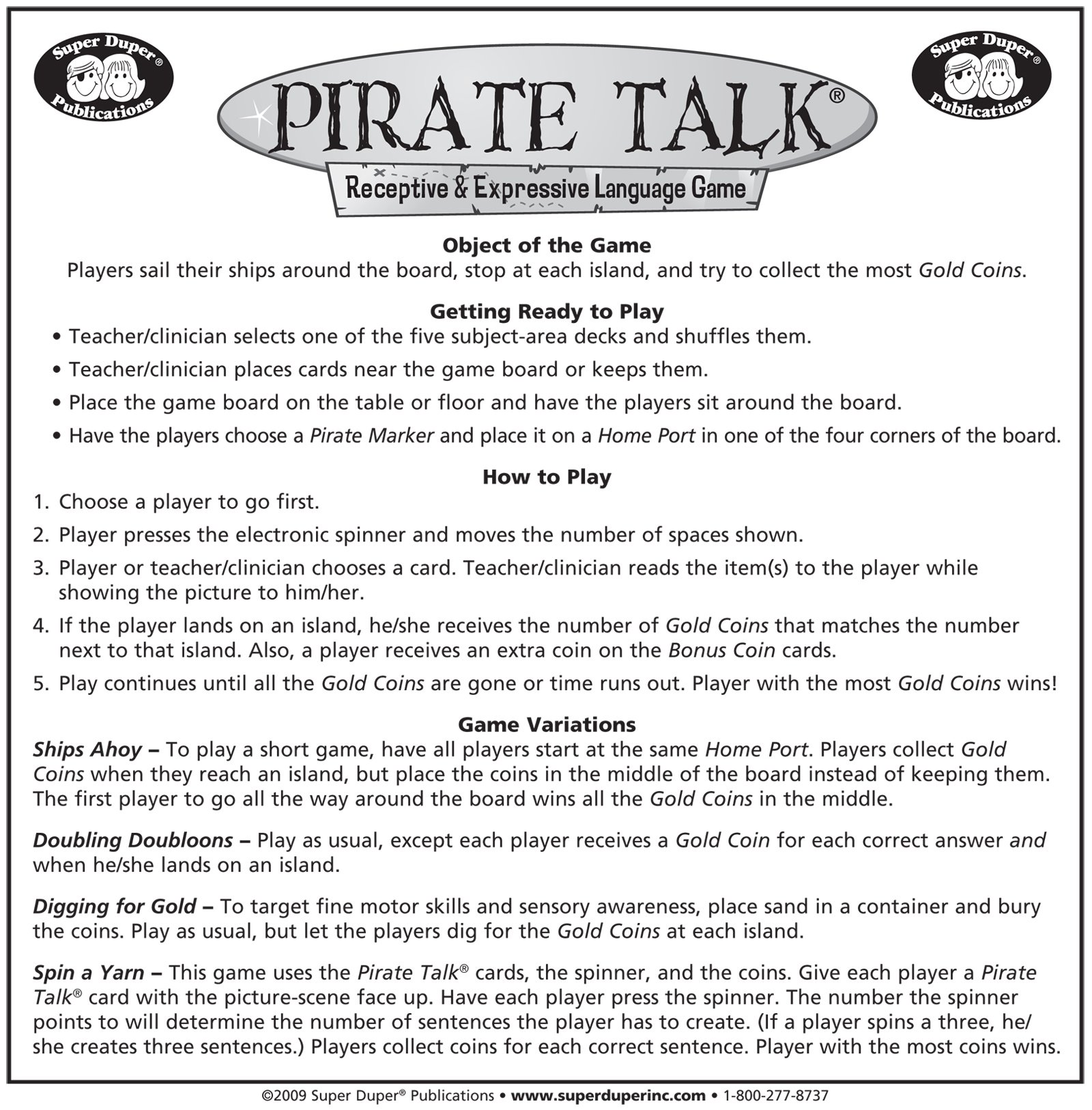 Super Duper Publications Pirate Talk Language, Communication, and Social Skills Board Educational Learning Resource for Children by Super Duper Publications (Image #3)