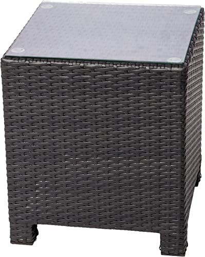 MCombo DIY Outdoor Garden Patio Wicker Sofa Sectional Couch Chair Rattan Deluxe Aluminum Frame Furniture Sofa Cushioned Table Seats Side Table 6080