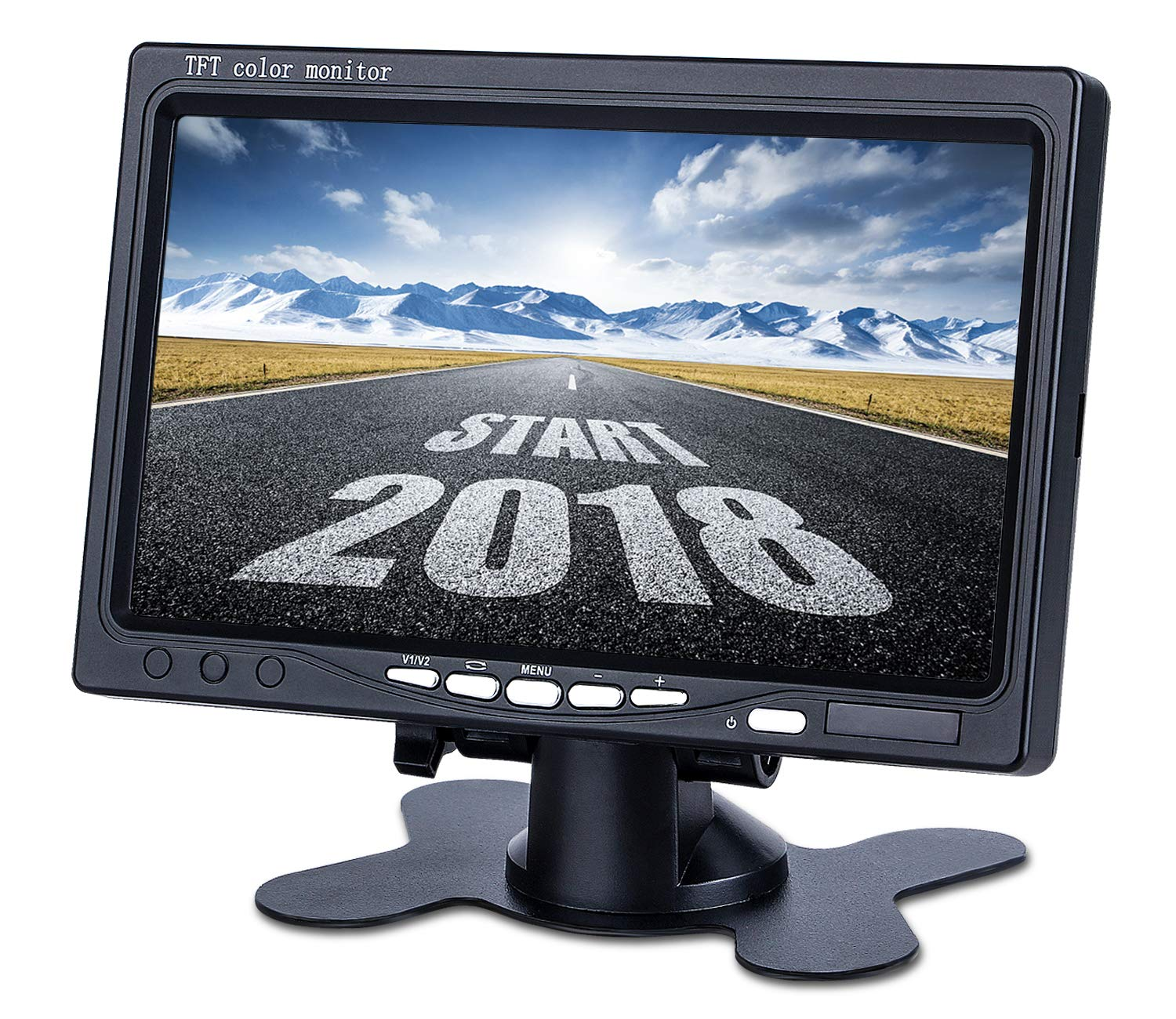 Upgrade Backup Camera Monitor 7 Inch Rearview Reversing LCD Monitor, 1024X600 Resolution Screen, Two Video Input Plug V1/V2 Car Rearview Cameras,— HD Transmission, Four-pin Interface — DVKNM (DBT)