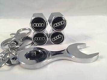 4 tapones embellecedores, para válvula de rueda de Audi, incluye llavero con forma de llave inglesa: Amazon.es: Coche y moto