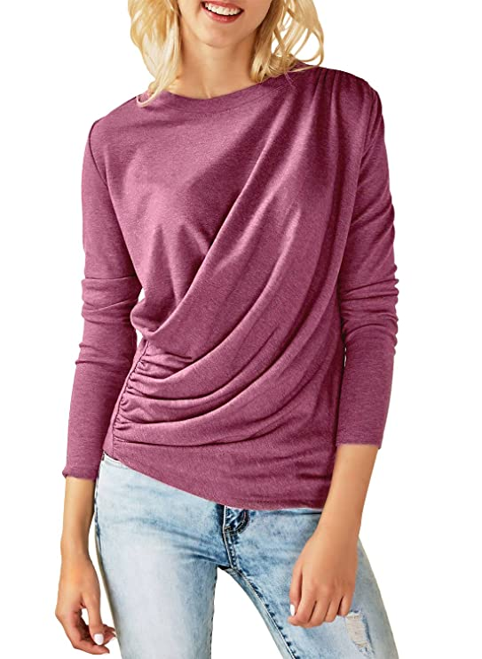 Eytino Women Long Sleeve Crew Neck Loose Casual Draped Pullover Tunic Sweatshirt Tops,Medium Purple