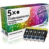 N.T.T.® - 5 x Stück XL Tintenpatronen / Druckerpatronen kompatibel zu PGI-525BK Black / Schwarz, Sparpack